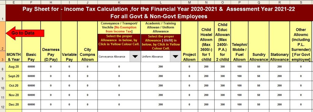 Income Tax Calculator for the Govt and Non-Govt employees for F.Y.2020-21