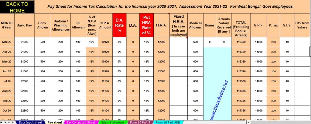 Income Tax Salary Structure