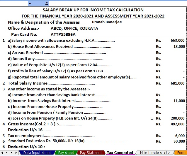 Income Tax Calculator for Non-Govt Employees for the F.Y.2020-21