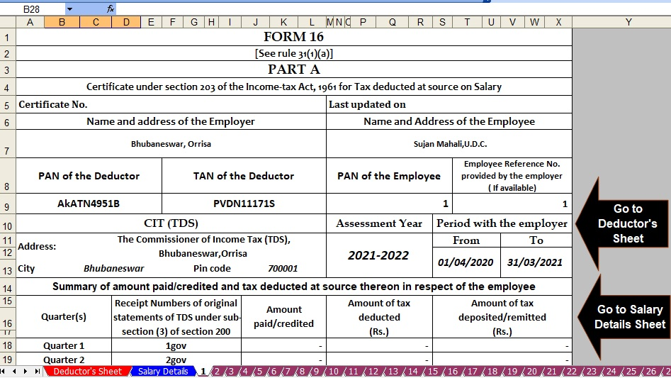 Income Tax Form 16 for the F.Y.2020-21